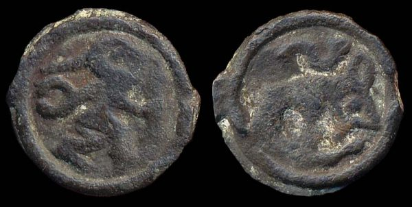 Ancient Celtic potin coin of the Remi tribe in Belgica, warrior and bear motifs