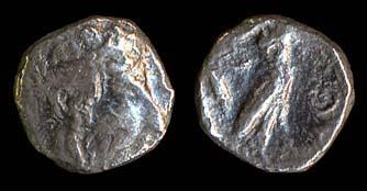 Ancient Greek Philisto-Arabian silver obol coin of Gaza