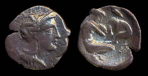 Ancient Greek silver diobol coin of Herakleia, Lucania, Italy