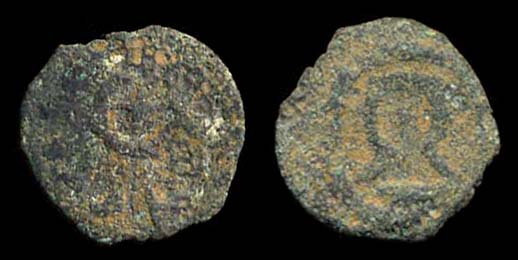 Ancient Jewish bronze prutah coin of king Herod the Great of Judea