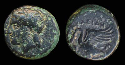 Ancient Greek bronze coin of Klazomenae, Ionia