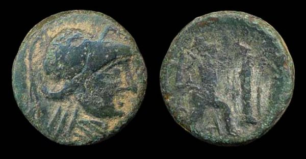 Ancient Greek bronze coin of Macedonian king Antigonus Gonatus