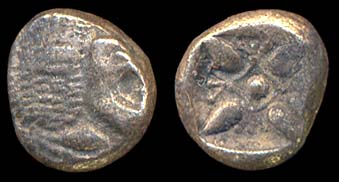 Ancient Greek silver twelfth stater coin of Miletos, Ionia