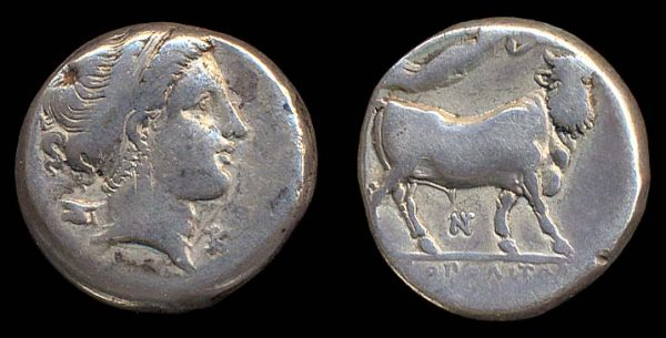 Ancient Greek silver didrachm coin of Neapolis, Campania, Italy