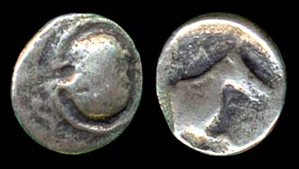 Ancient Greek silver hemiobol coin of Tanagra, Boeotia