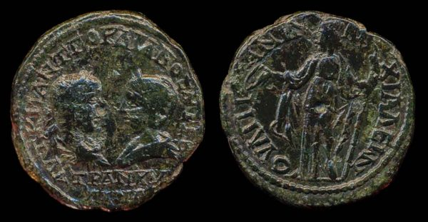 "Ancient ""Greek Imperial"" (Roman colonial) bronze coin of Roman Emperor Gordian III & wife Tranquilina from Anchialus, Thrace"