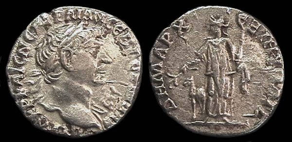 "Ancient ""Greek Imperial"" (Roman colonial) silver drachm coin of Roman Emperor Trajan from Caesarea, Cappadochia"