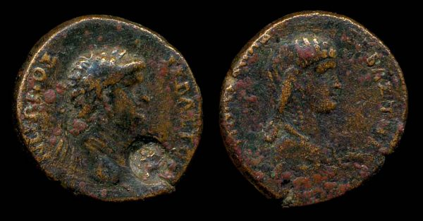 "Ancient ""Greek Imperial"" (Roman colonial) bronze coin of Roman Emperor Nero and wife Poppaea from Galatia"