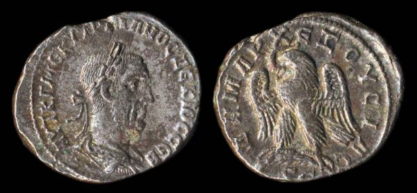 "Ancient ""Greek Imperial"" (Roman colonial) silver tetradrachm coin of Roman Emperor Trajan Decius from Antioch, Syria"