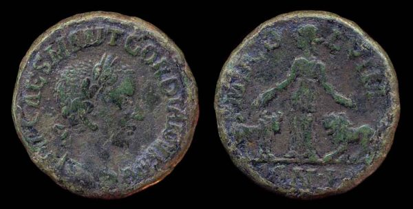 "Ancient ""Greek Imperial"" (Roman colonial) bronze coin of Roman Emperor Gordian III from Viminacium, Moesia Superior"
