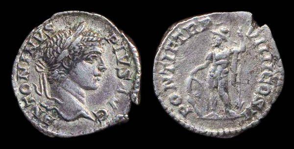 Ancient silver denarius coin of Roman Emperor Caracalla