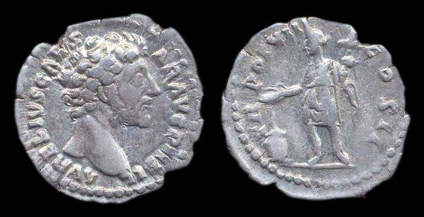 Ancient silver denarius coin of Roman Emperor Marcus Aurelius