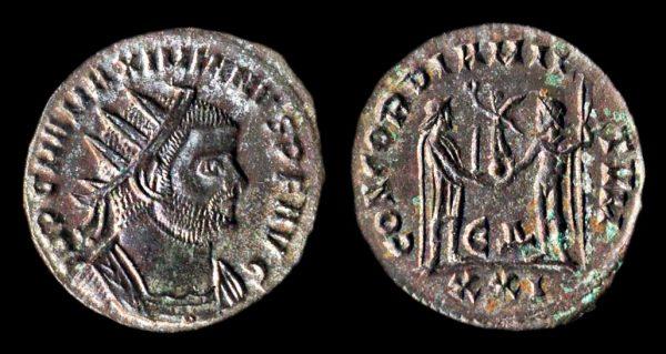 Ancient follis coin of Roman Emperor Maximianus