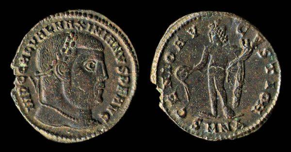 Ancient follis coin of Roman Emperor Galerius