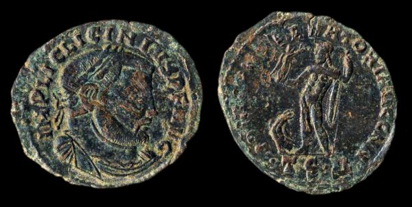 Ancient bronze coin of Roman Emperor Licinius I