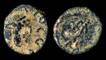 Ancient bronze coin of Roman Emperor Zeno