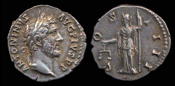Ancient silver denarius coin of Roman Emperor Antoninus Pius
