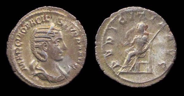 Ancient silver antoninianus coin of Otacilia Severa, wife of Roman Emperor Philip I