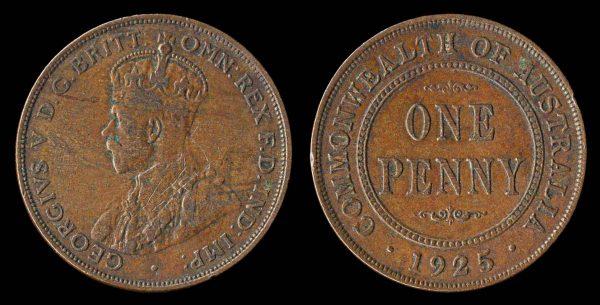 Australia, 1925 penny coin