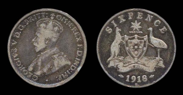 Australia, silver sixpence coin 1918M