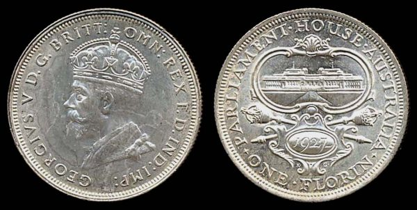 Australia, silver florin, 1927 Parliament commemorative coin
