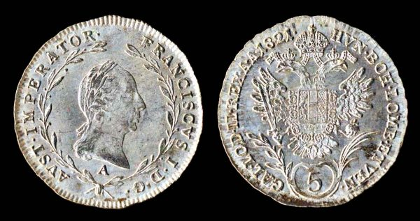 Austria, 5 kreuzer billon coin, 1821A