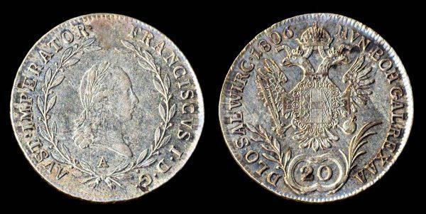 Austria, 20 kreuzer silver coin, 1806A