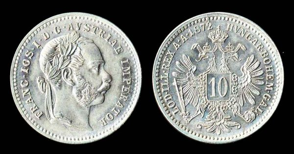 Austria, 10 kreuzer silver coin, 1872