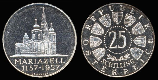 Austria, silver 25 schilling coin, Mariazell Cathedral, proof