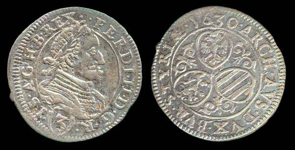 Austria, silver 3 kreuzer coin, Graz mint, 1630