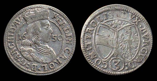 Austria, silver 3 kreuzer coin, Hall mint, 1650