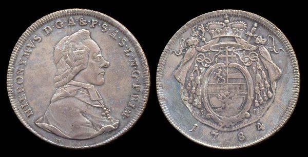 Silver taler coin of Salzburg in Austria. 1784