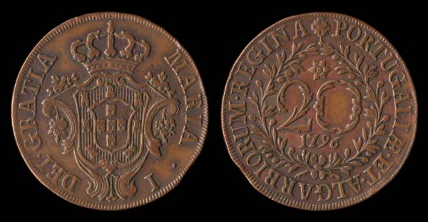 Portuguese colony of Azores, large copper 20 reis coin, 1796