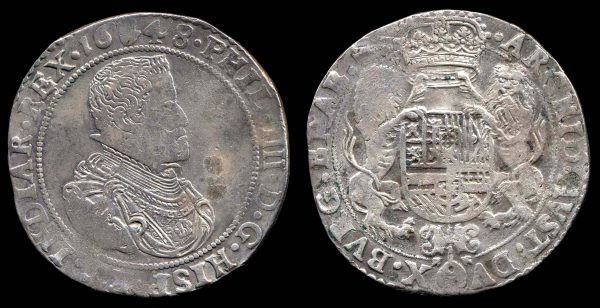 Silver taler coin of Brabant in Belgium, 1648