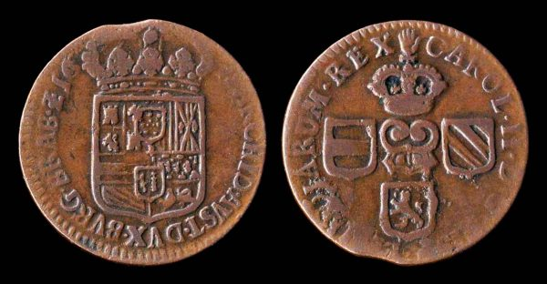 Copper coin of Brabant in Belgium
