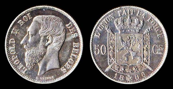 Belgian silver 50 centimes coin 1886 with overdate