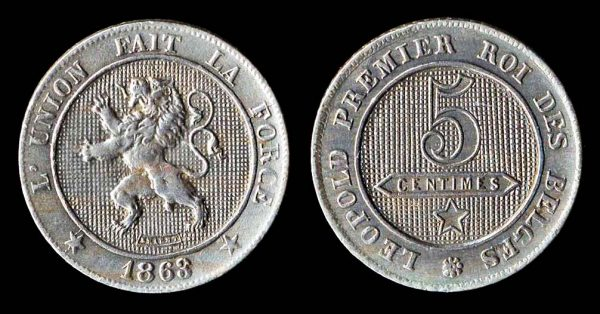 Belgian 5 centimes coin 1863 with overdate