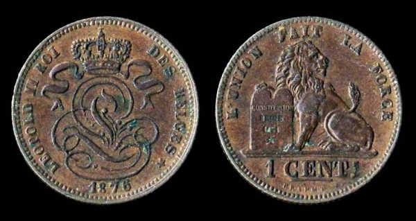 Belgium, 1 centime coin 1876