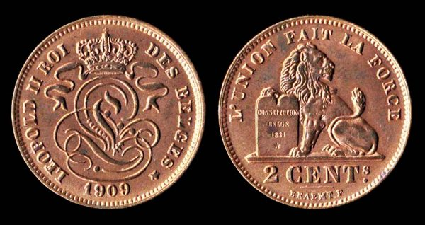 Belgian 2 centimes coin 1909, uncirculated