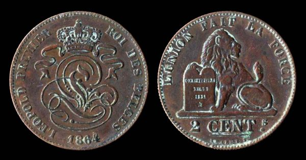 Belgian 2 centimes coin, 1864 with overdate