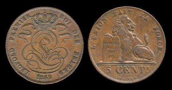 Belgian 5 centimes coin 1859