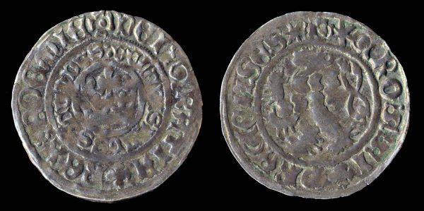 Large medieval silver pragergroschen coin king Wladislaus II of Bohemia