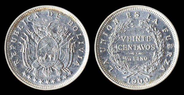 Silver 20 centavos coin 1909H of Bolivia