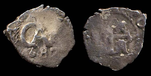 Spanish colonial silver half real cob coin of Potosi, Bolivia, 1682