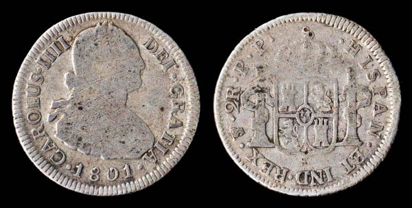 Spanish colonial silver 2 reales 1801 of Potosi in Bolivia