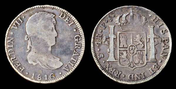 Spanish colonial silver 4 reales 1816 of Potosi in Bolivia