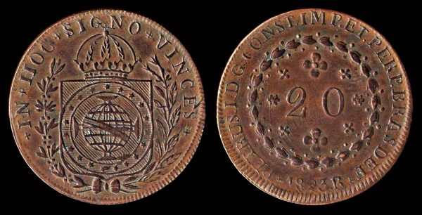 Brazil, 20 reis copper coin, 1823R