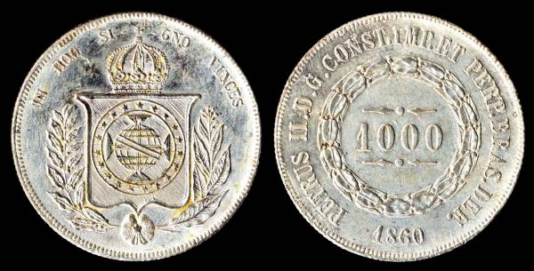 Brazil, 1000 reis silver coin, 1860 with overdate