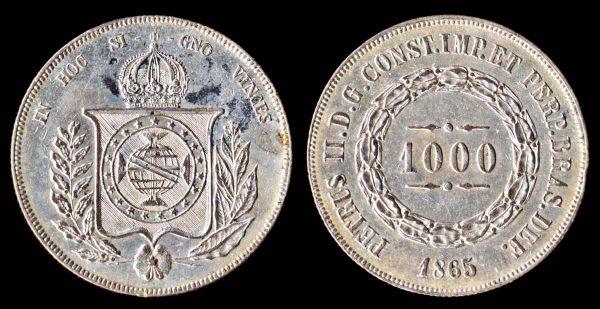 Brazil, 1000 reis silver coin, 1865