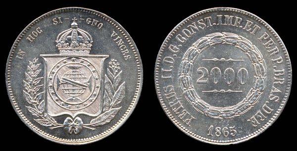 Brazil, 2000 reis silver coin, 1865